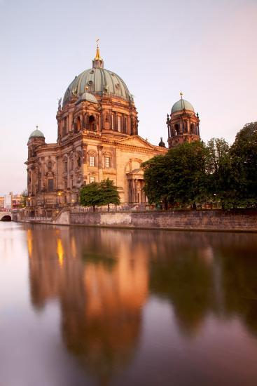 Germany, Berlin. the Cathedral Reflected in the Waters of Spree River.-Ken Scicluna-Photographic Print