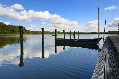 Germany, Brandenburg, Himmelpfort, Moderfitzsee, Jetty, Rowing Boat-Andreas Vitting-Photographic Print