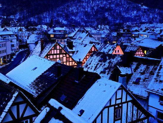 Germany, Dillenburg, Half-Timbered Gable of the Winter Evening, Snow-K. Schlierbach-Photographic Print