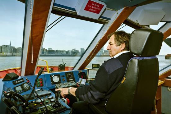 Germany, Hamburg, Elbe, Harbour, Captain, Ferry, Harbour Ferry-Ingo Boelter-Photographic Print