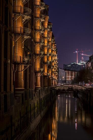 Germany, Hamburg, Speicherstadt (Warehouse District), Elbphilharmonie, Night, Night Shot-Ingo Boelter-Photographic Print