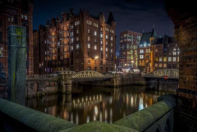 Germany, Hamburg, Speicherstadt (Warehouse District), Pickhuben, Night, Night Shot-Ingo Boelter-Photographic Print