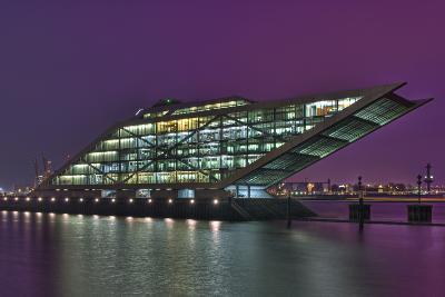 Germany, Hanseatic Town Hamburg, Dockland, Office Building, in the Evening-Sebastian Scheuerecker-Photographic Print