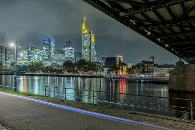 Germany, Hesse, Frankfurt Am Main, Financial District, Skyline with Iron Footbridge at Dusk-Bernd Wittelsbach-Photographic Print