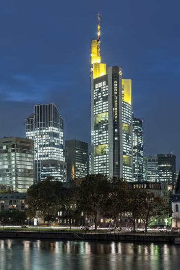 Germany, Hesse, Frankfurt on the Main, Financial District with Main Shore at Dusk-Bernd Wittelsbach-Photographic Print