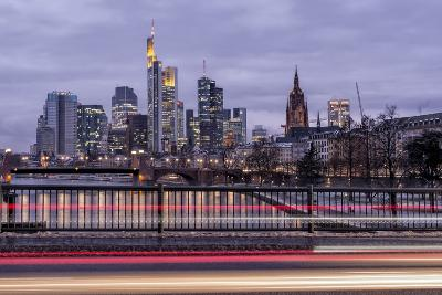 Germany, Hesse, Frankfurt on the Main, Skyline at Dusk, Light Tracks of Passing Cars-Bernd Wittelsbach-Photographic Print