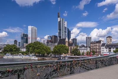 Germany, Hessen, Frankfurt Am Main, Iron Bridge, Main and Skyline-Udo Siebig-Photographic Print