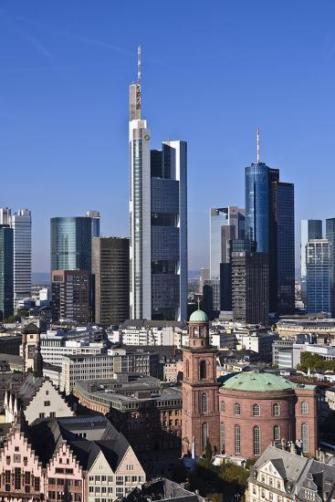 Germany, Hessen, Frankfurt, Skyline, Sky, Blue, St. Paul's Church-Udo Siebig-Photographic Print