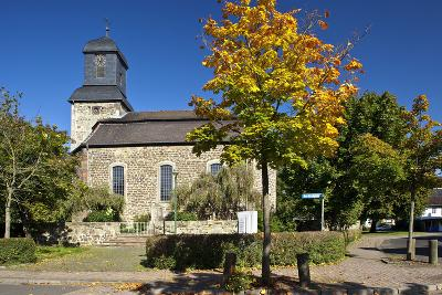 Germany, Hessen, Northern Hessen, Wabern, Protestant Church, Tree, Autumn Colours-Chris Seba-Photographic Print
