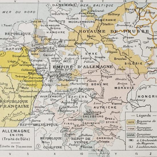 Map Of Old Germany.Germany In 1795 Old Map Peace Of Basel Art Print By Marzolino