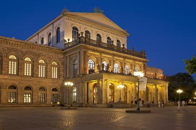 Germany, Lower Saxony, Hannover, Landestheater, Evening-Chris Seba-Photographic Print