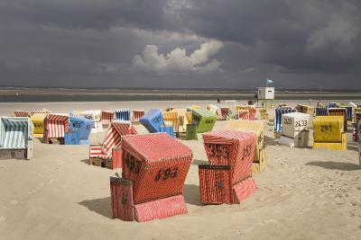 Germany, Lower Saxony, Island Langeoog, Beach, Wicker Beach Chairs-Roland T.-Photographic Print