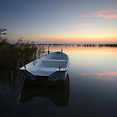 Germany, Mecklenburg-West Pomerania, Island RŸgen, Gro§er Jasmunder Bodden, Sunset, Rowing Boat-Andreas Vitting-Photographic Print