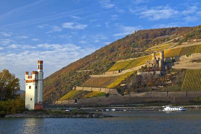 Germany, Middle Rhine Valley, Bingen, Rheingau, Binger M?useturm, M?useturm Island, Freight Ship-Chris Seba-Photographic Print
