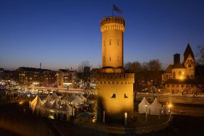 Germany, North Rhine-Westphalia, Christmas Fair in the Rheinauhafen with View at the Malakoff Tower-Andreas Keil-Photographic Print