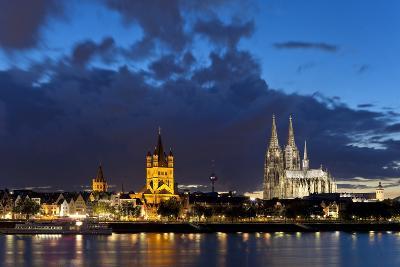 Germany, North Rhine-Westphalia, Cologne, Bank of River Rhine, Cathedral-Chris Seba-Photographic Print