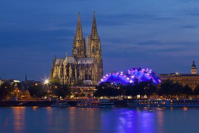Germany, North Rhine-Westphalia, Cologne, Cathedral, the Rhine, Musikpark, Evening-Chris Seba-Photographic Print