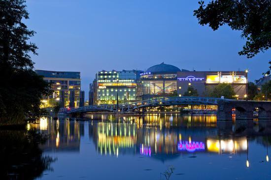 Germany, North Rhine-Westphalia, Cologne, Mediapark, Cinedom, Evening Light-Chris Seba-Photographic Print
