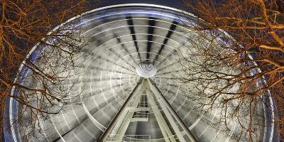 Germany, North Rhine-Westphalia, Dusseldorf, Big Wheel on the Old Town Bank at Night-Andreas Keil-Photographic Print