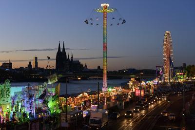 Germany, North Rhine-Westphalia, Funfair on the Deutz Shore-Andreas Keil-Photographic Print