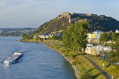 Germany, Rhineland-Palatinate, Koblenz, Rhine Shore, Ehrenbreitstein Fortress, Harbour, Freighter-Chris Seba-Photographic Print
