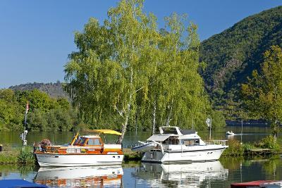 Germany, Rhineland-Palatinate, the Moselle, Niederfell, Harbour Landing Pier, Boats, Yachts-Chris Seba-Photographic Print