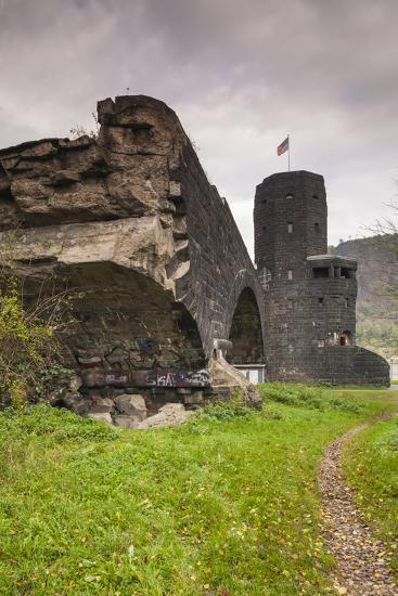 Germany, Rhineland-Pfalz, Remagen, Ruins of the Bridge at Remagen-Walter Bibikow-Photographic Print