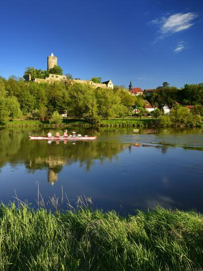 Germany, Saxony-Anhalt, Rowing Boat in Front of Castle and Village Schšnburg at the Saale-Andreas Vitting-Photographic Print