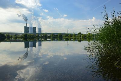 Germany, Saxony-Anhalt, Skopau, Schkopau Power Station Is Reflecting in Pond-Andreas Vitting-Photographic Print