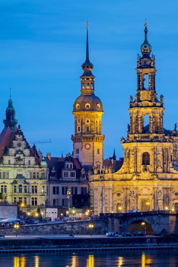 Germany, Saxony, Dresden, Altstadt (Old Town). Dresden skyline, historic buildings along the Elbe R-Jason Langley-Photographic Print