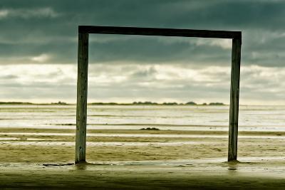 Germany, Schleswig-Holstein, Amrum, Sandy Beach, Sandbank, Kniepsand, Wooden Gate-Ingo Boelter-Photographic Print