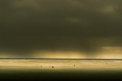 Germany, Schleswig-Holstein, Amrum, Sandy Beach, Sandbank, Stormy Atmosphere-Ingo Boelter-Photographic Print