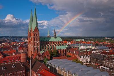 Germany, Schleswig-Holstein, City Center of LŸbeck, Overview, Rainbow-Thomas Ebelt-Photographic Print