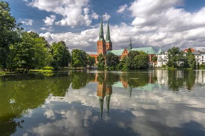 Germany, Schleswig - Holstein, LŸbeck (City), Old Town, Cathedral, Trave (River)-Ingo Boelter-Photographic Print