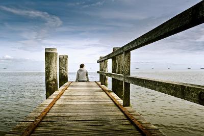 Germany, Schleswig-Holstein, Wyk, Beach, Woman, Bridge, Sitting, Back View-Ingo Boelter-Photographic Print