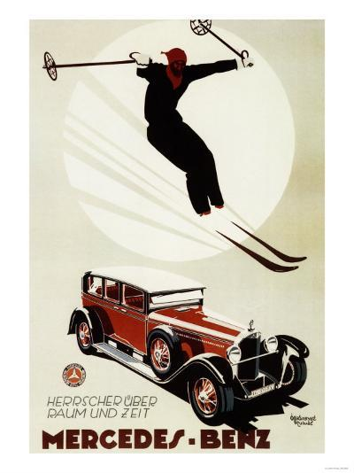 Germany - Skier Jumping over a Mercedes-Benz Promotional Poster-Lantern Press-Art Print