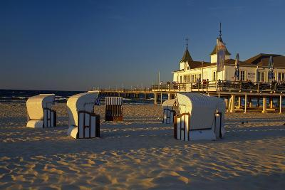 Germany, the Baltic Sea, Island Usedom, Ahlbeck, Pier, Evening Light-Chris Seba-Photographic Print