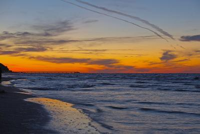 Germany, the Baltic Sea, Island Usedom, Heringsdorf, Beach, Pier, Evening Mood-Chris Seba-Photographic Print