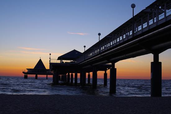Germany, the Baltic Sea, Island Usedom, Heringsdorf, Beach, Pier, Morning Mood-Chris Seba-Photographic Print