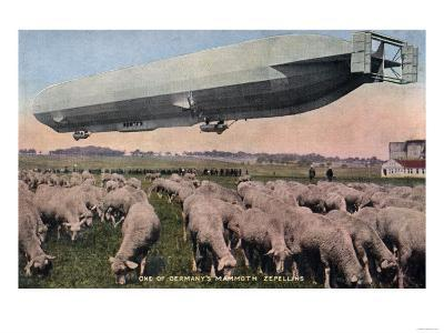 Germany - View of a Zeppelin Blimp over Grazing Sheep-Lantern Press-Art Print