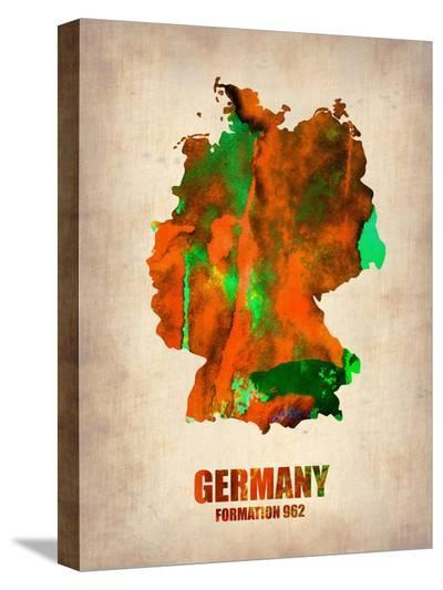 Germany Watercolor Map-NaxArt-Stretched Canvas Print