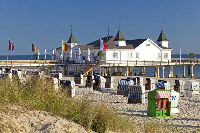 Germany, Western Pomerania, Island Usedom, Seaside Resort Ahlbeck, Pier, Beach Chairs-Chris Seba-Photographic Print
