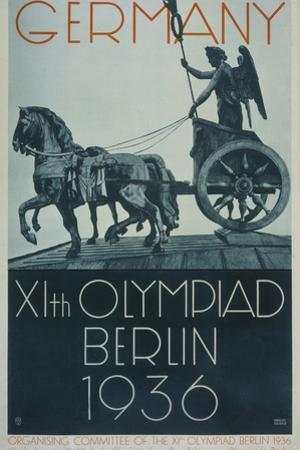 Germany XIth Olympiad Berlin 1936, Poster Depicts a Profile View of the 'Quadriga'