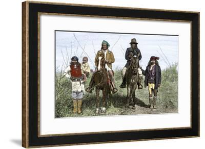 Geronimo and Natchez on Horseback during the Apache Wars, c.1886--Framed Giclee Print