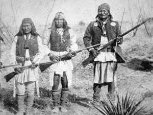 Geronimo and Three of His Apache Warriors, 1886