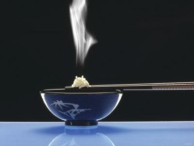 Steaming Rice and Chop Sticks