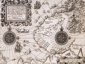 Map of Nova Zembla from Diarium Nauticum, seu vera descriptio trium navigationum admirandarum by Gerrit de Veer