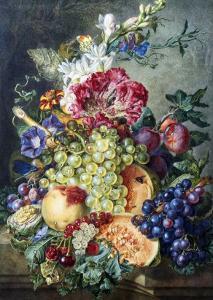 Fruit and Flowers by Gerrit Jan Van Leeuwen