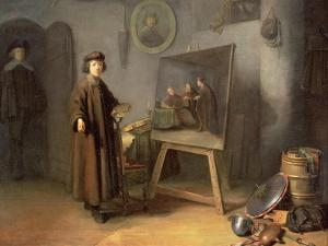 A Painter in His Studio by Gerrit or Gerard Dou
