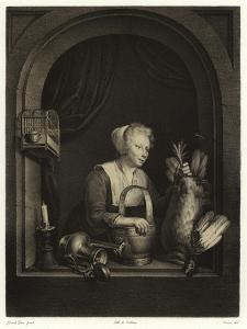 A Woman Hanging Up a Fowl by Gerrit or Gerard Dou